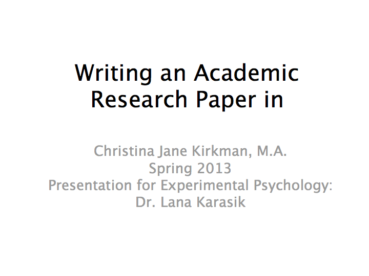 Writing psychology papers