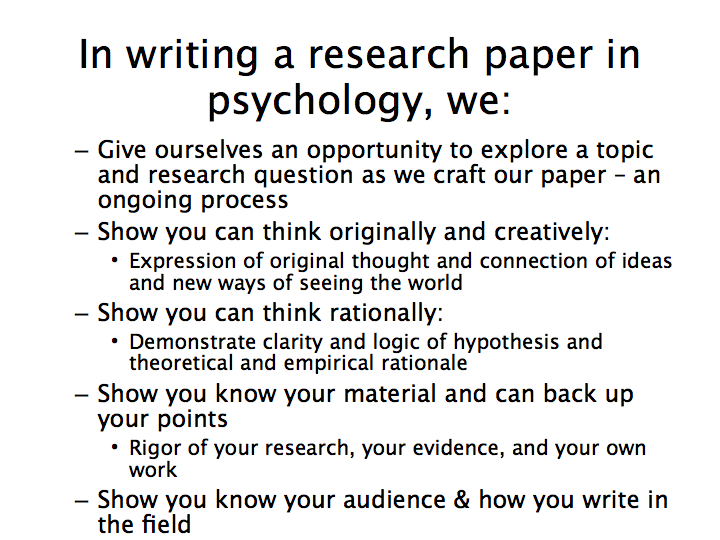 Writing research report psychology today