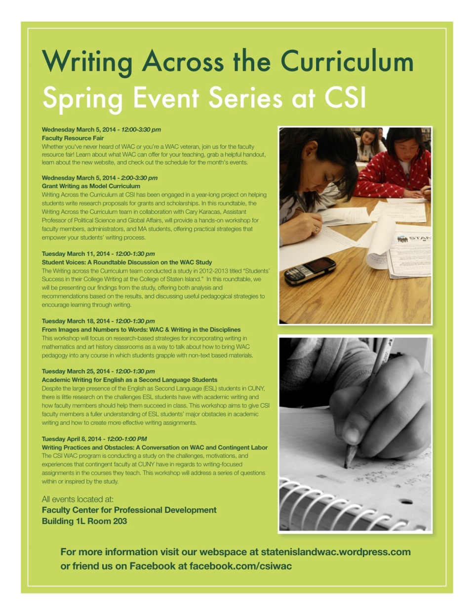 Writing Across the Curriculum Spring Event Series at CSI
